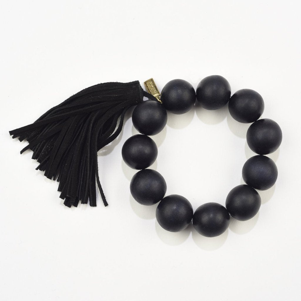 INK ALLOY Tassel Bracelet with Black Wood Beads-INK + ALLOY-The Bugs Ear