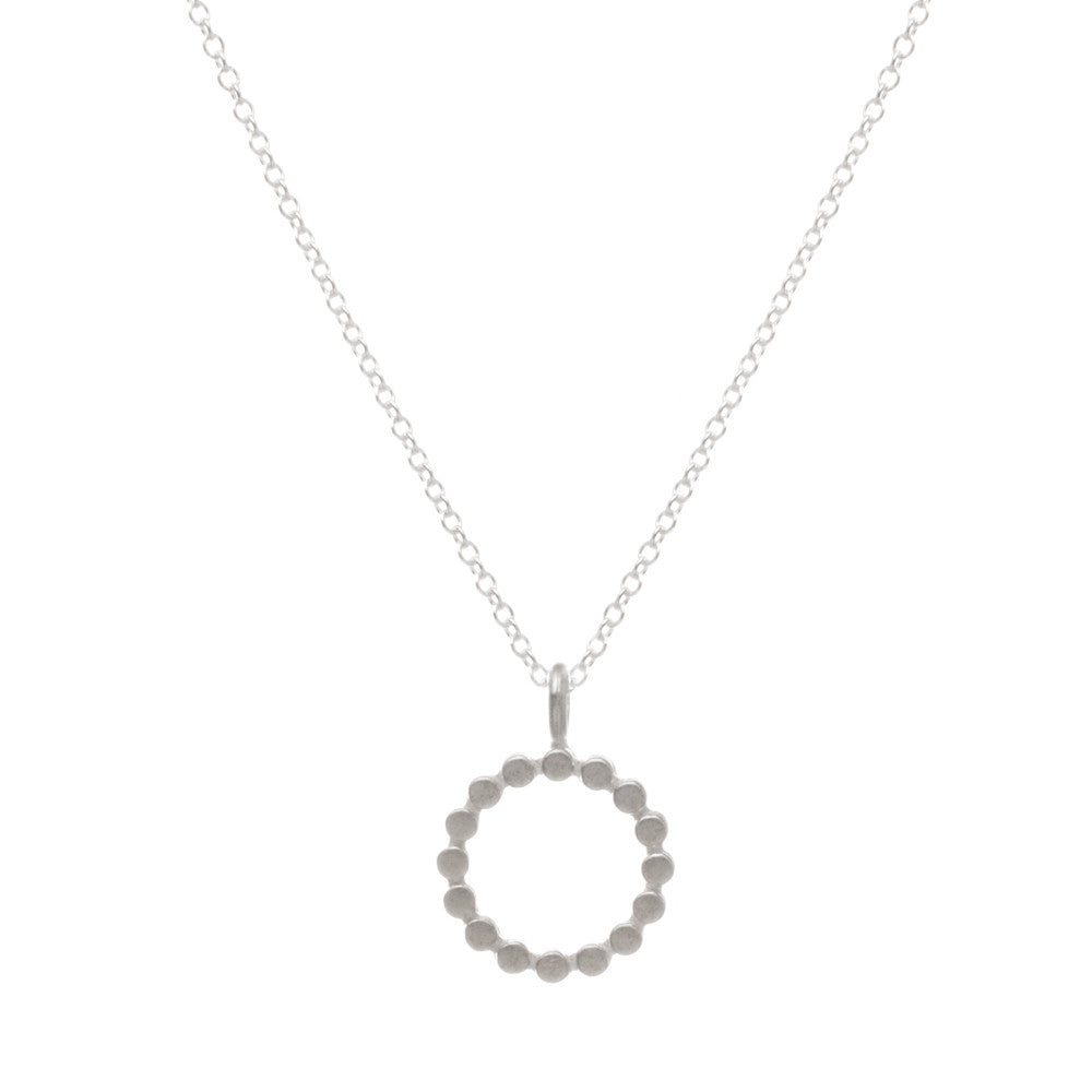 Dogeared The Circle Necklace Dotted Silver Circle-Dogeared-The Bugs Ear