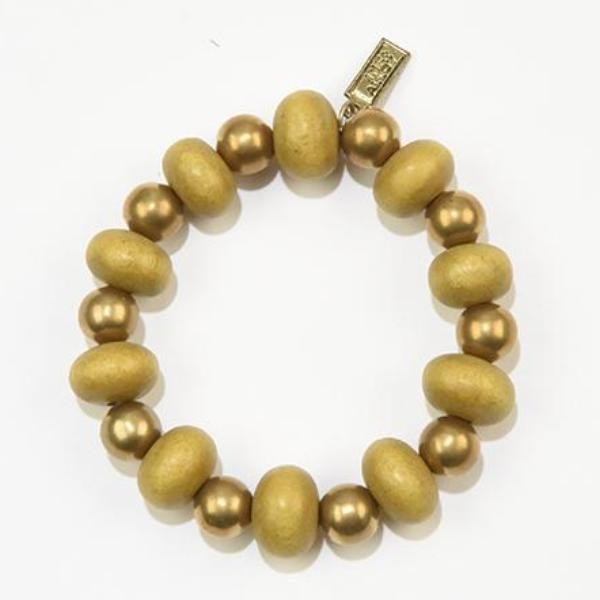 INK ALLOY Mustard Oval with Brass Stretch Bracelet-INK + ALLOY-The Bugs Ear