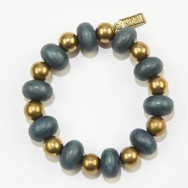 INK ALLOY Teal Oval with Brass Stretch Bracelet-INK + ALLOY-The Bugs Ear