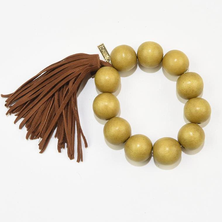 INK ALLOY Mustard Wood Bead and Brown Suede Tassel Bracelet-INK + ALLOY-The Bugs Ear