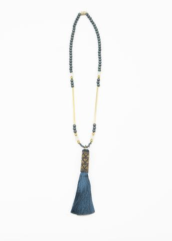 "INK ALLOY Teal Wood and Glass with Teal Tassel Necklace 33"" Tassel 6""-INK + ALLOY-The Bugs Ear"