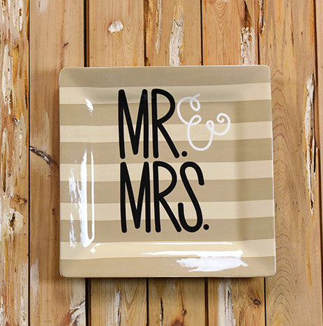 Mr. & Mrs. Square Platter-Coton Colors-The Bugs Ear
