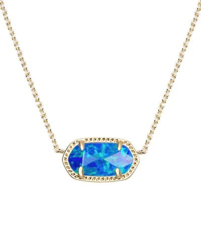 Kendra Scott Elisa Pendant Necklace in Dark Blue Kyocera Opal-Kendra Scott-The Bugs Ear