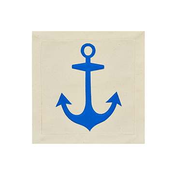 Nora Fleming Pillow Panel Anchors Aweigh Blue Anchor-Nora Fleming-The Bugs Ear