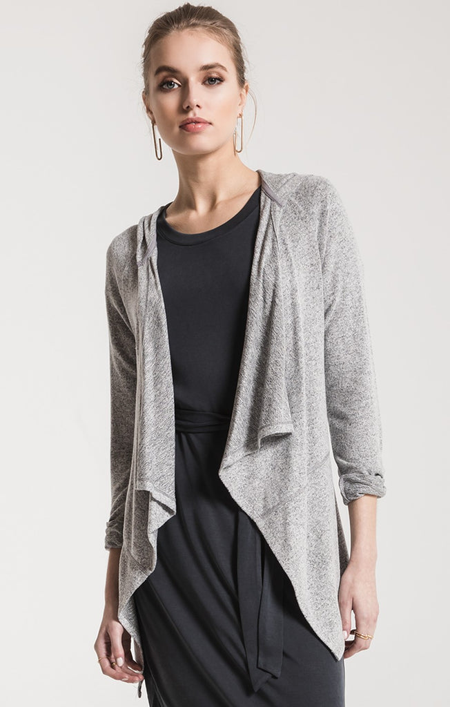 Z Supply Marled Hooded Waterfall Cardigan Grey-Z Supply-The Bugs Ear