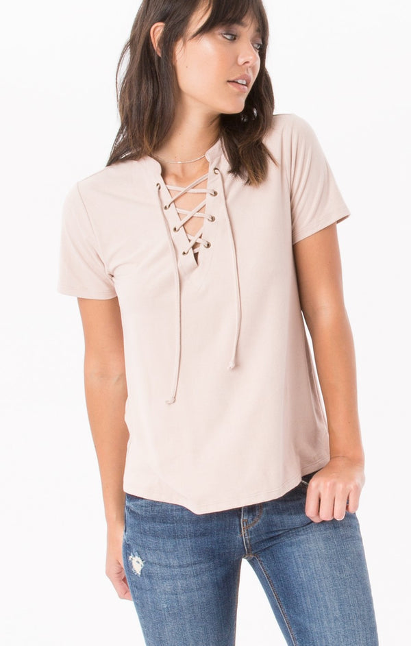 Z Supply The Suede Lace Up Top in Rose Smoke-Z Supply-The Bugs Ear