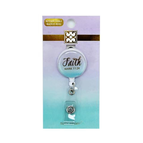 Teal Faith Badge Reel-Mary Square-The Bugs Ear
