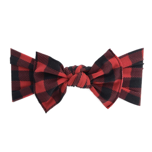 Baby Bling Printed Knot Headband Red/Black Buffalo Plaid-Baby Bling-The Bugs Ear