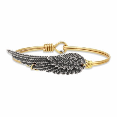 Luca and Danni Angel Wing Bangle Bracelet Brass-Luca + Danni-The Bugs Ear