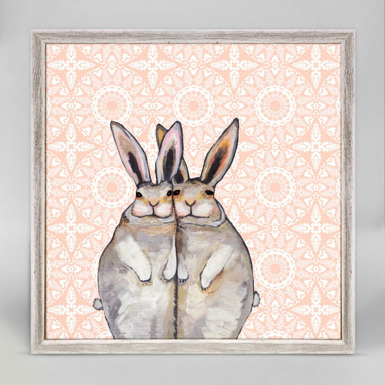 Bunny Friends On Bohemian Pattern Mini Framed Canvas 6x6-Greenbox-The Bugs Ear