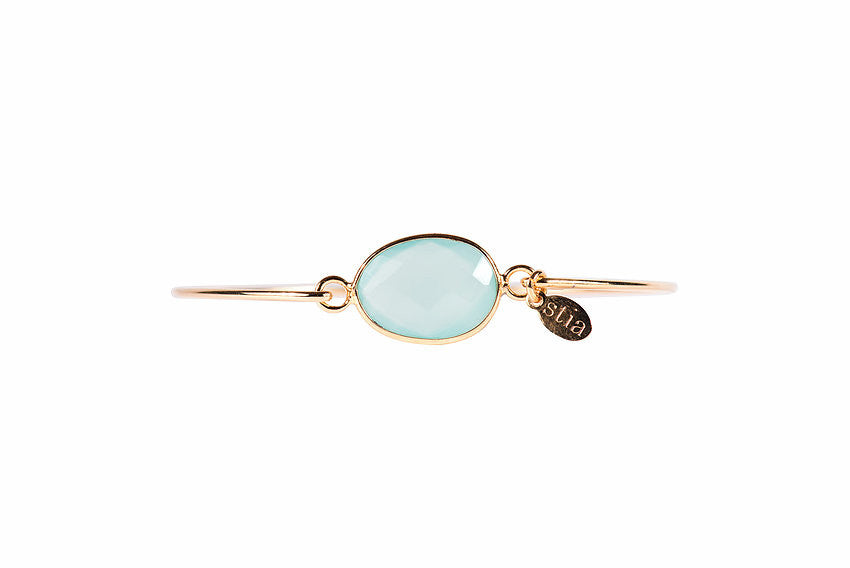 Freeform Gemstone Bracelet in Aqua Chalcedony-Stia Couture-The Bugs Ear