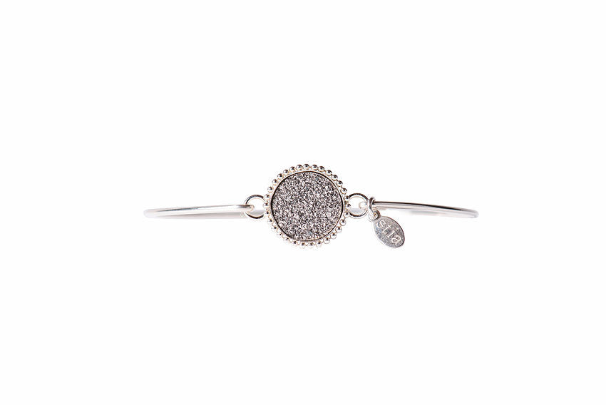 Druzy Beaded Edge Bracelet in Silver and Platinum-Stia Couture-The Bugs Ear