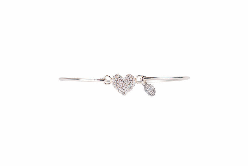 Pavé Icon Silver Bracelet with Heart-Stia Couture-The Bugs Ear