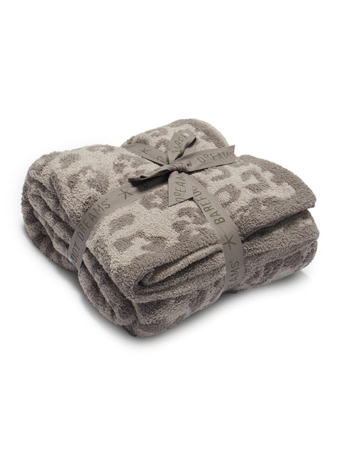 Barefoot Dreams Leopard Print Throw Linen Warm Gray-Barefoot Dreams-The Bugs Ear