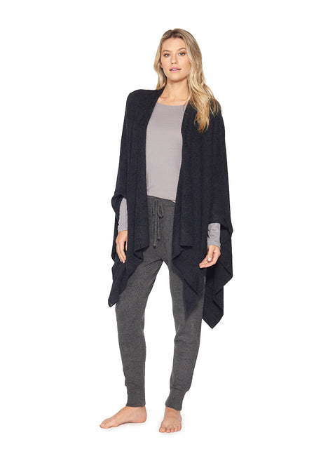 Barefoot Dreams Cozy Chic Weekend Wrap in Black-Barefoot Dreams-The Bugs Ear