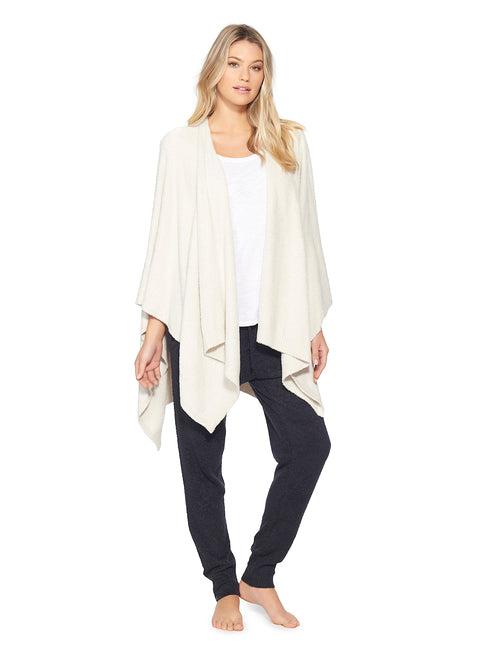 Barefoot Dreams Cozy Chic Weekend Wrap in Heathered Stone and Pearl-Barefoot Dreams-The Bugs Ear