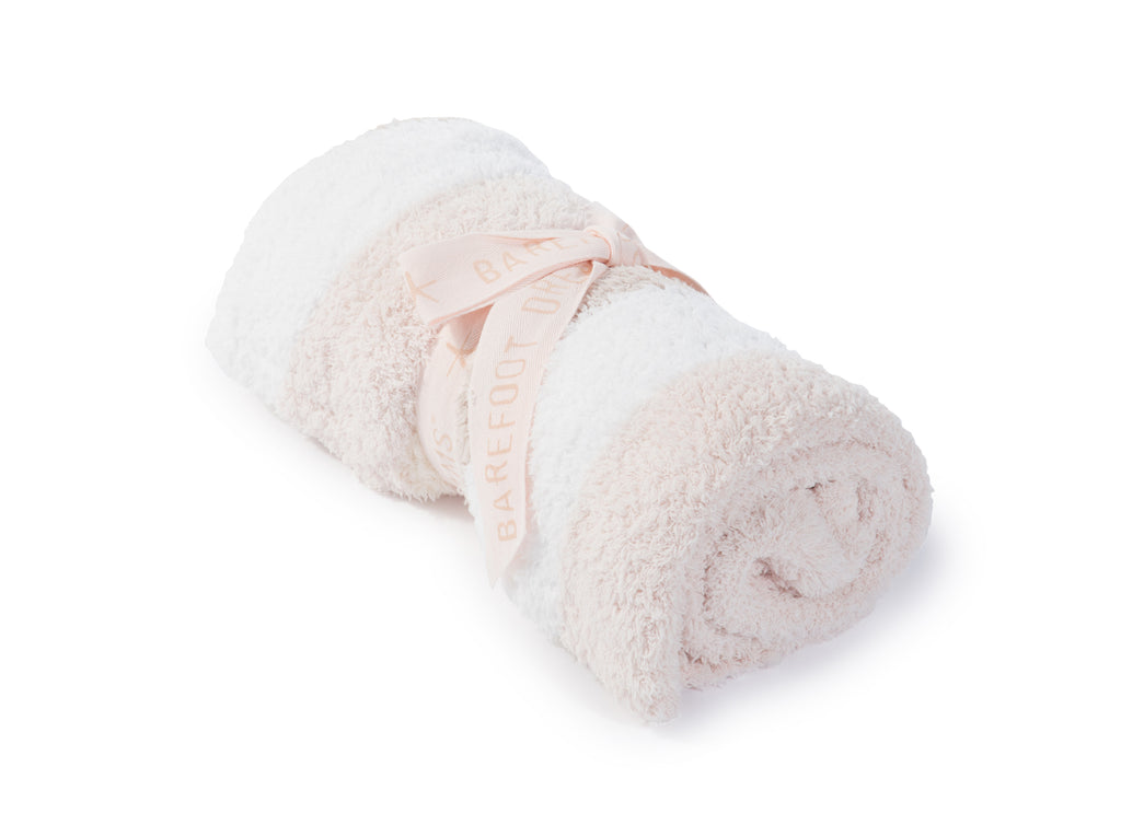 Barefoot Dreams Multi Stripe Stroller Blanket White Blush Cream Pink-Barefoot Dreams-The Bugs Ear