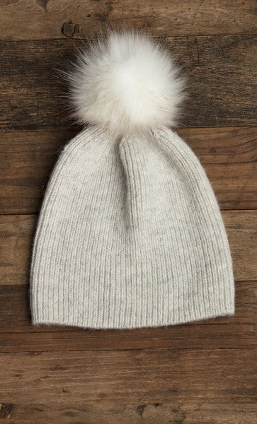 Lemon Flurry Rib Hat with Floppy Faux Fur Pom Oxford-Lemon-The Bugs Ear