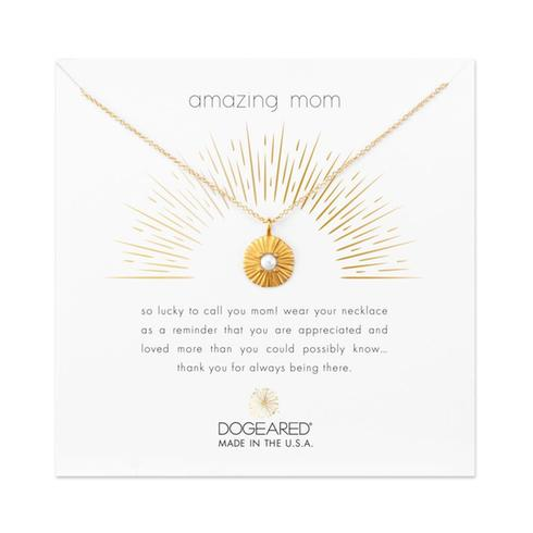 Dogeared Amazing Mom Radiant Pearl Disc Necklace in Gold-Dogeared-The Bugs Ear