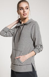 Z Supply Striped Soft Spun Knit Hoodie-Z Supply-The Bugs Ear