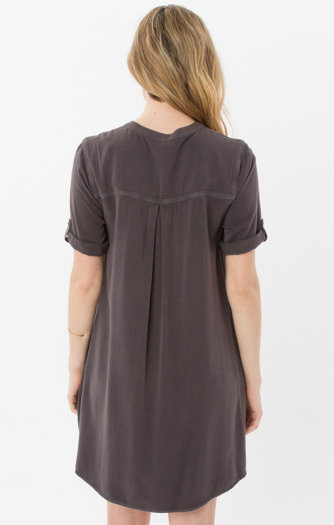 Latitude Lace Up Knit Dress in Pavement-Rag Poets-The Bugs Ear