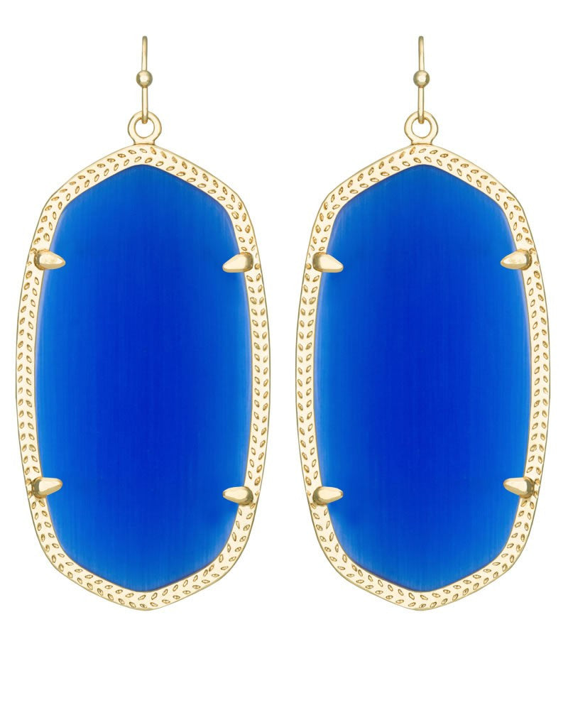 Kendra Scott Danielle Earrings in Gold Cobalt Cat's Eye-Kendra Scott-The Bugs Ear