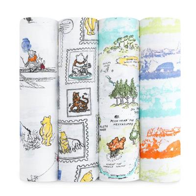Aden and Anais Swaddle Winnie The Pooh Disney Classic Swaddles 4 pack-Aden + Anias-The Bugs Ear