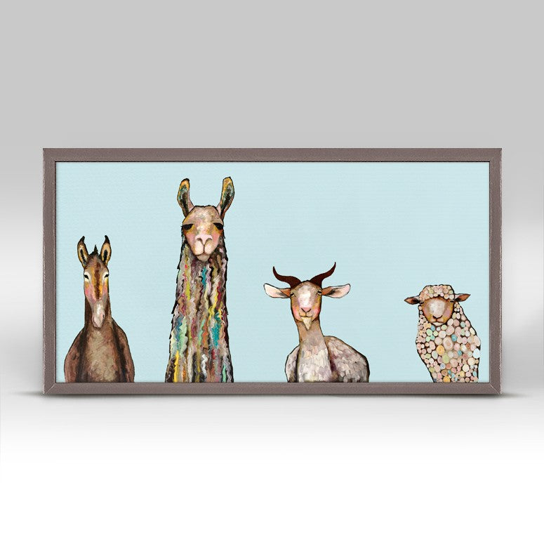Donkey, Llama, Goat, Sheep - Sky Blue Mini Framed Canvas 10x5-Greenbox-The Bugs Ear