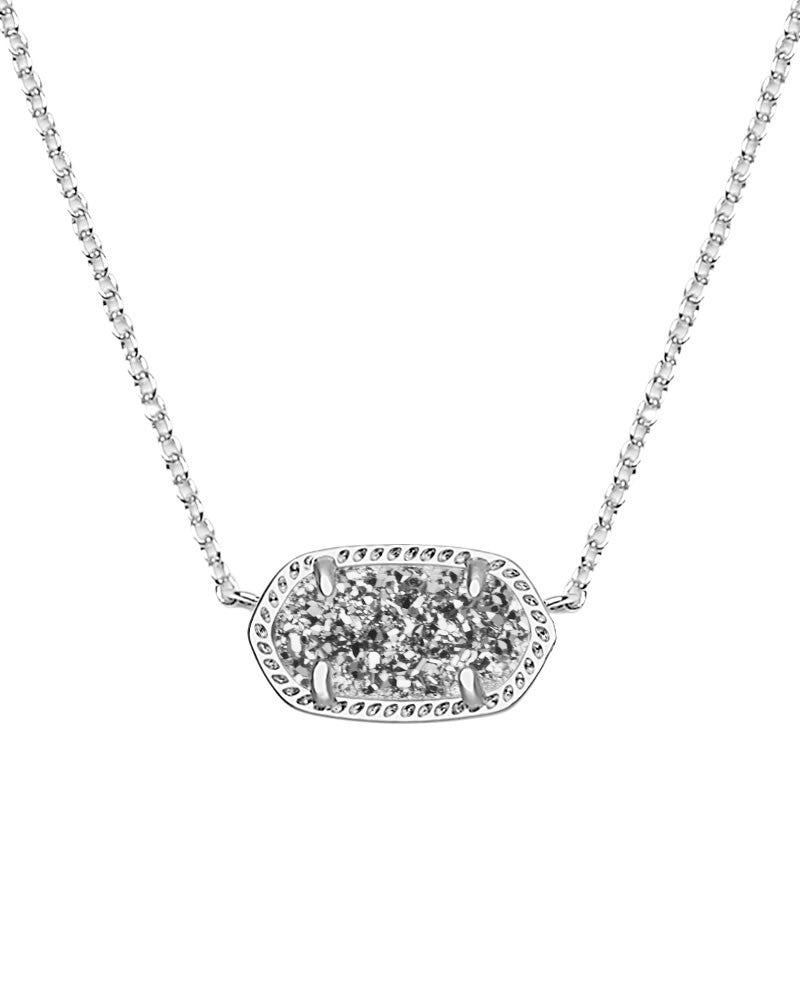 Kendra Scott Elisa Silver Pendant Necklace in Platinum Drusy-Kendra Scott-The Bugs Ear