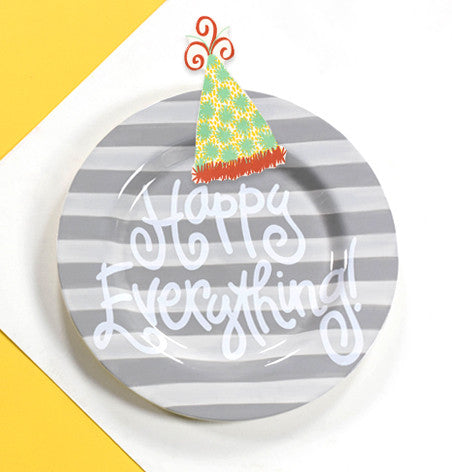 Happy Everything Big Platter Stone Stripe-Coton Colors-The Bugs Ear
