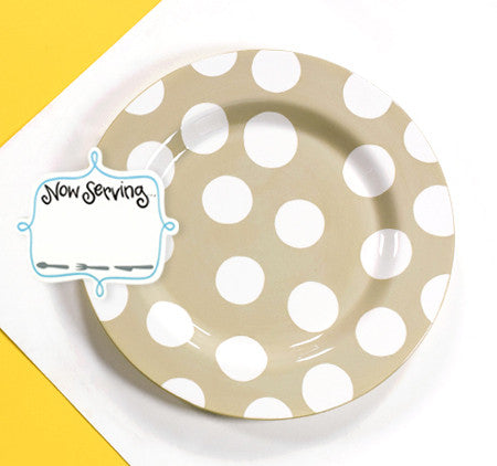 Happy Everything Big Platter Neutral Dot with Now Serving Attachment-Coton Colors-The Bugs Ear