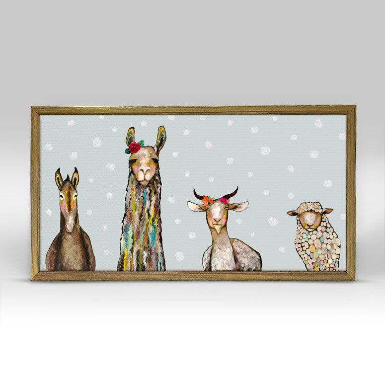 Donkey, Llama, Goat, Sheep Embellished Mini Framed Canvas Holiday-Greenbox-The Bugs Ear