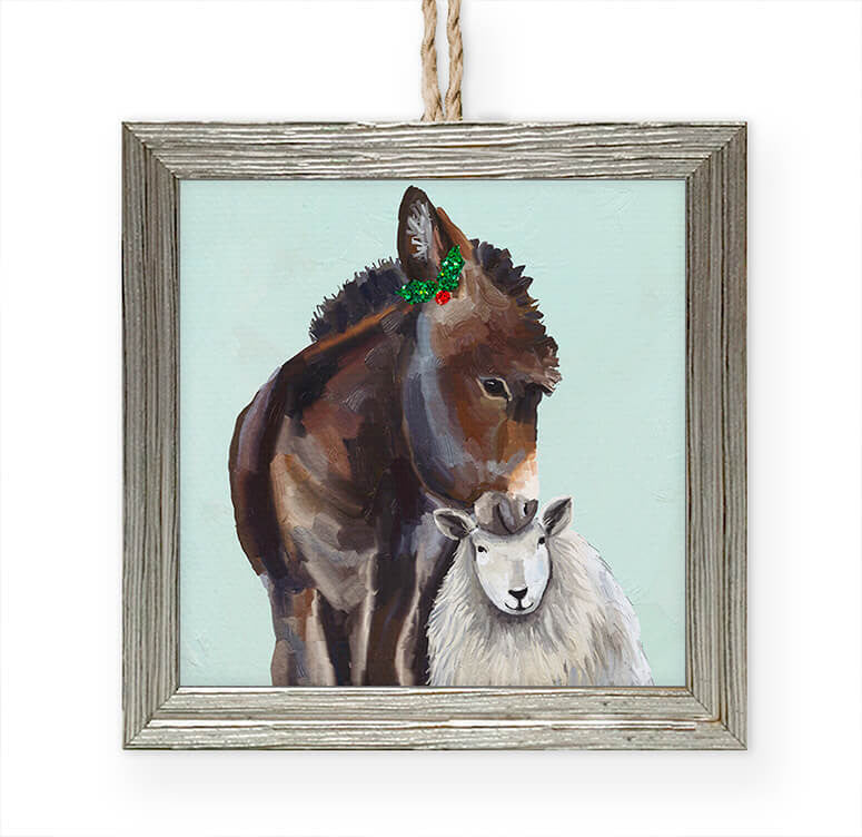 Festive Donkey and Sheep Embellished Wooden Framed Ornament-Greenbox-The Bugs Ear