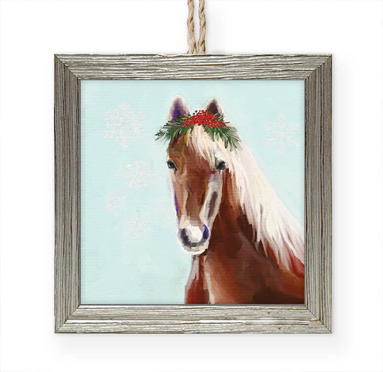 Festive Horse Embellished Wooden Framed Ornament-Greenbox-The Bugs Ear