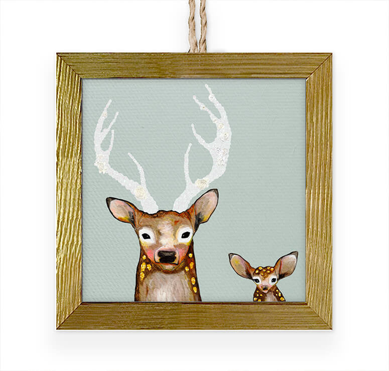 Frosted Buck and Baby Embellished Wooden Framed Ornament-Greenbox-The Bugs Ear