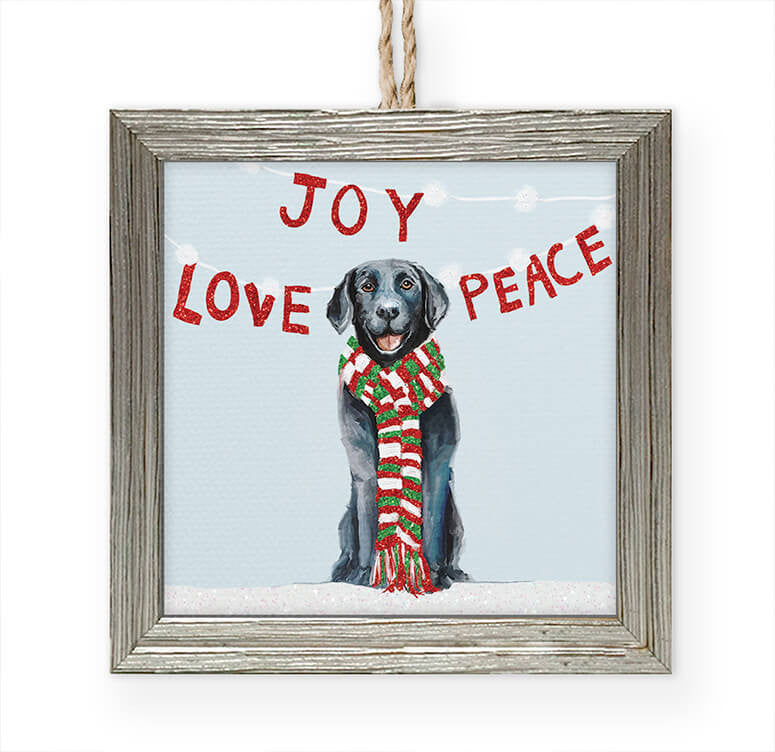 Joy Love Peace Embellished Wooden Framed Ornament-Greenbox-The Bugs Ear