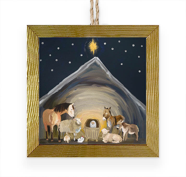 Nativity Manger Embellished Wooden Framed Ornament-Greenbox-The Bugs Ear