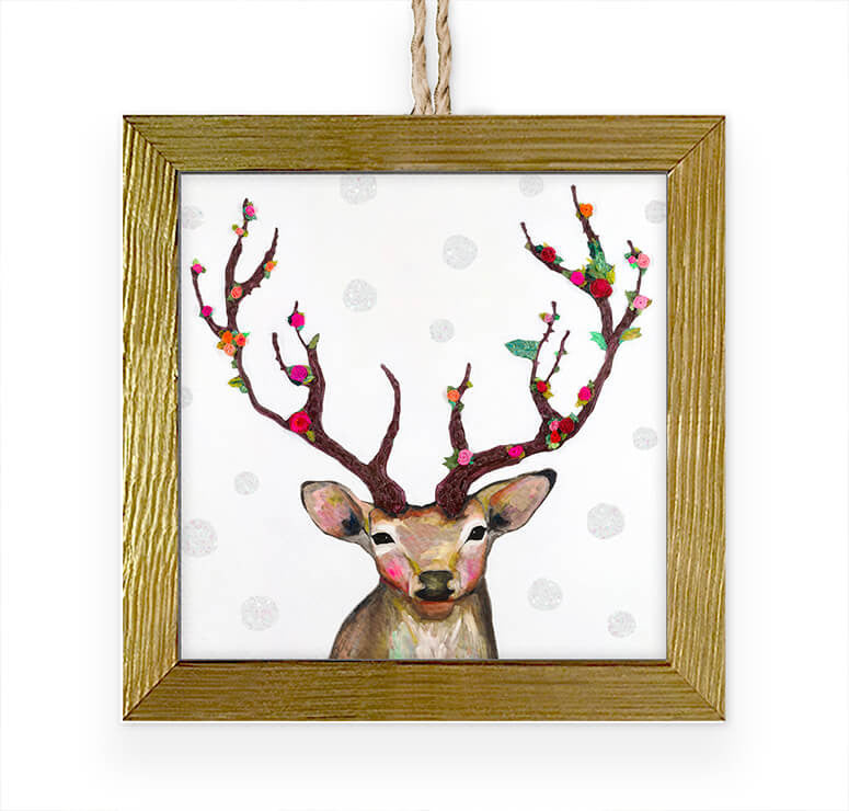 Rosy Buck Embellished Wooden Framed Ornament-Greenbox-The Bugs Ear