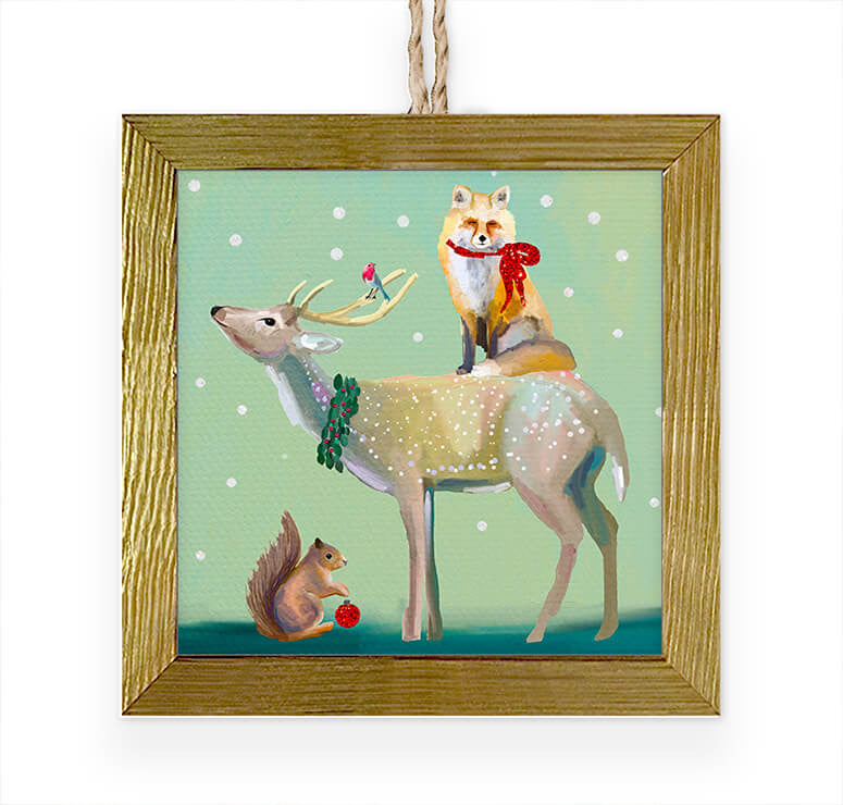 Wondrous Buck, Fox and Squirrel Embellished Wooden Framed Ornament-Greenbox-The Bugs Ear