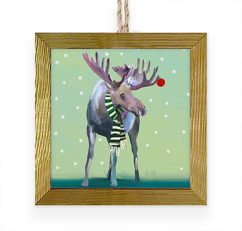 Wondrous Moose In The Snow Embellished Wooden Framed Ornament-Greenbox-The Bugs Ear