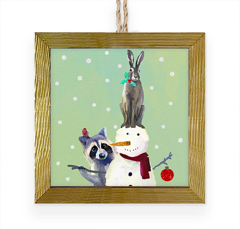 Wondrous Snowman, Raccoon And Rabbit Embellished Wooden Framed Ornament-Greenbox-The Bugs Ear
