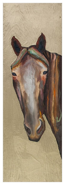 Horse On Gold Wall Art 12x36-Greenbox-The Bugs Ear