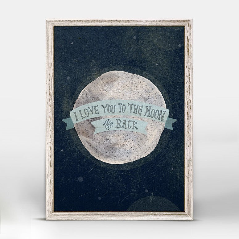 I Love You To The Moon - Blue Mini Framed Canvas 5x7-Greenbox-The Bugs Ear