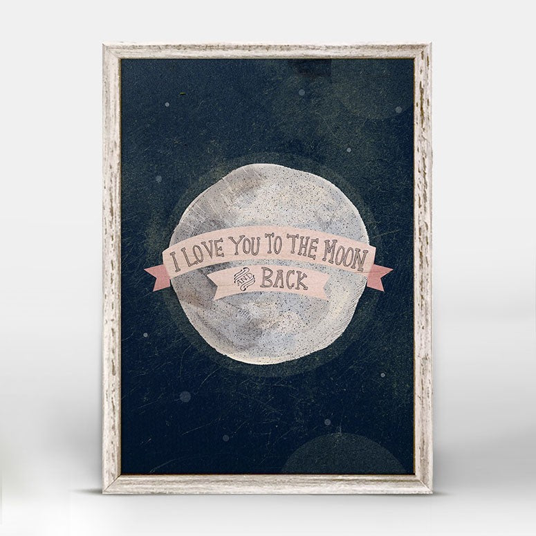 I Love You To The Moon - Pink Mini Framed Canvas 5x7-Greenbox-The Bugs Ear