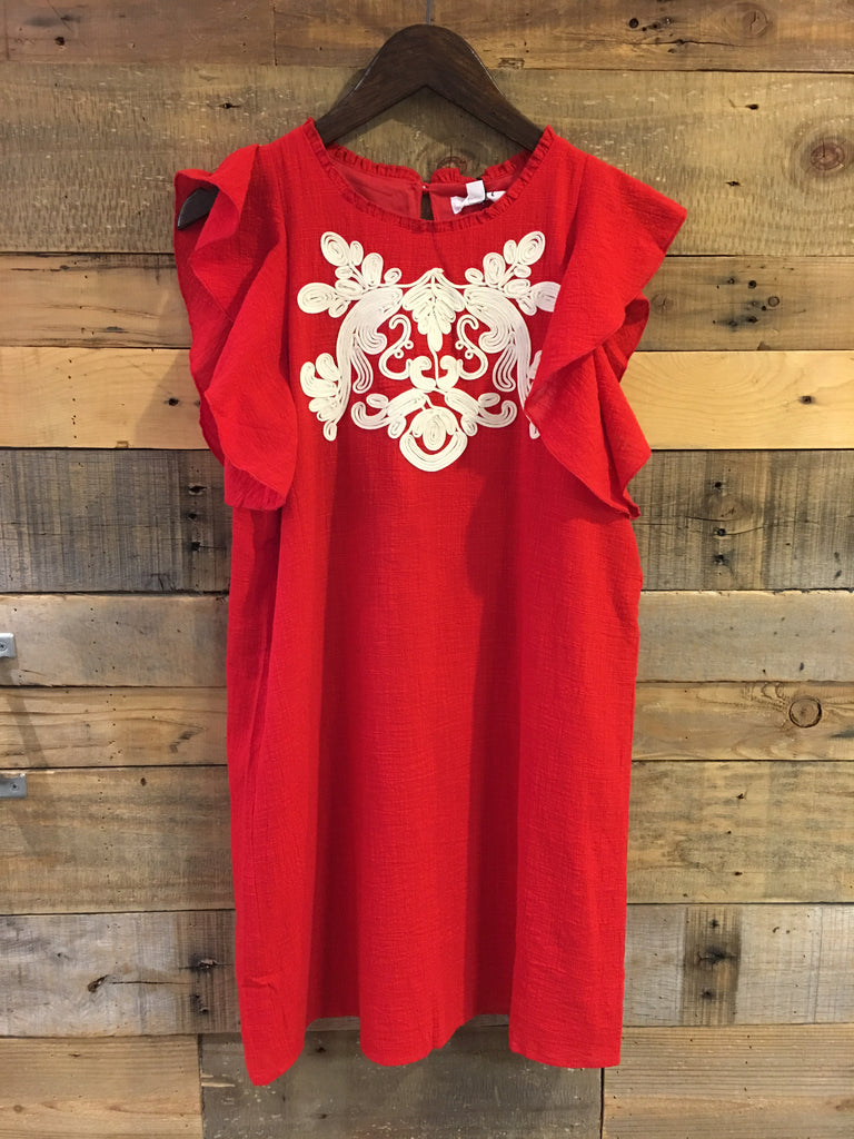 Stacy Flutter Sleeve Embroidered Dress Red-THML-The Bugs Ear