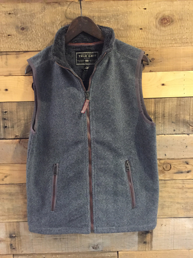 True Grit Herringbone Fleece Zip Vest-True Grit-The Bugs Ear