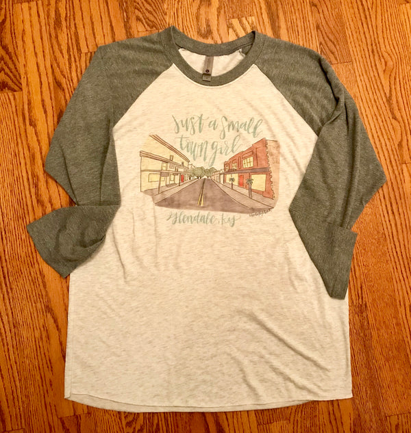 Small Town Girl Doodle Raglan Glendale Color-Doodles By Rebekah-The Bugs Ear