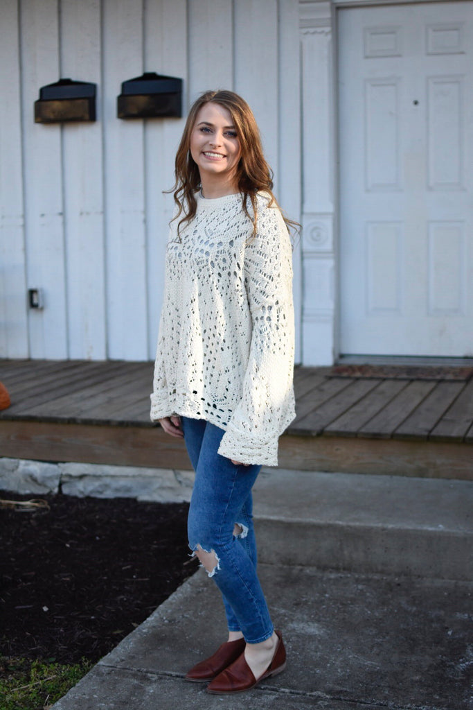 Free People Traveling Lace Sweater in Ivory-Free People-The Bugs Ear