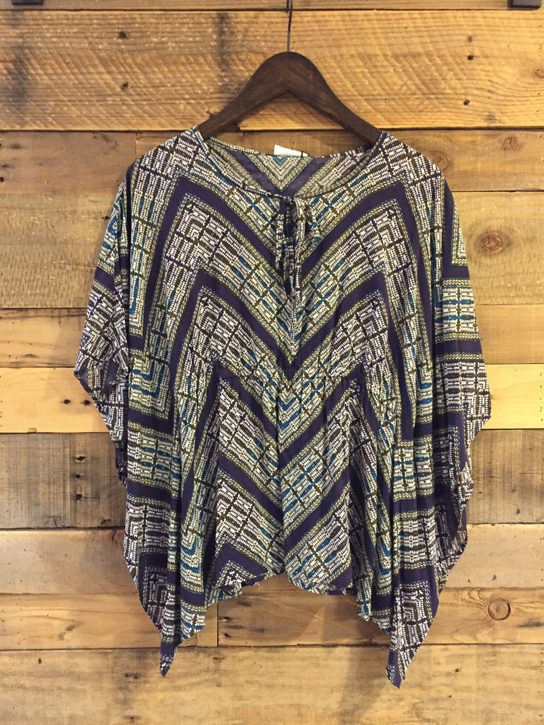 Aleyiah Tribal Print Drape Top-Glam-The Bugs Ear